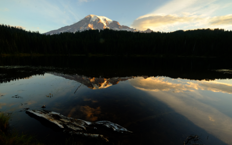 reflection lake at mt rainier by bill fortney