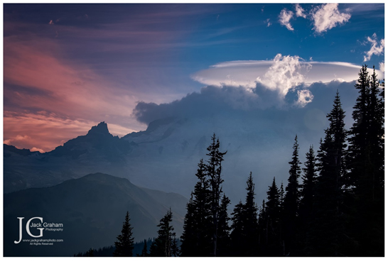 lenticular clouds over mt rainier, jack graham